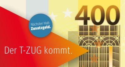 Der T-ZUG kommt. Nächster Halt: Zusatzgeld.