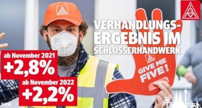 Tarifabschluss Schlosserhandwerk NRW: 2,8% und 2,2% mehr Geld in zwei Stufen
